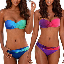 Tengweng 2019 sexy Polka dots Push up women Brazilian Bikini Gradient Swimwear Bandeau Cheap Swimsuit Female Bathingsuit