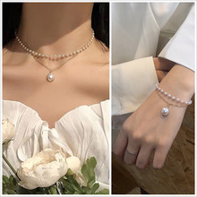 Korean Version Of 2021 New Fashion And Popular Double-Layer Chain Pearl Bracelet Necklace Cute Pendant Ladies Jewelry Best Gift