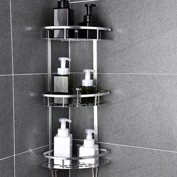 Przestrzeń aluminiowa półka łazienkowa bez dziurkowania koszyk prysznicowy Sheves kosz kuchenny do przechowywania samoprzylepne półki narożne prysznic tanie i dobre opinie Potrójne tier Typ ścienny Łazienka półki Rogu Space Aluminum Aluminium Polerowane Bathroom Shelf Corner Basket Shower Caddy Sheves