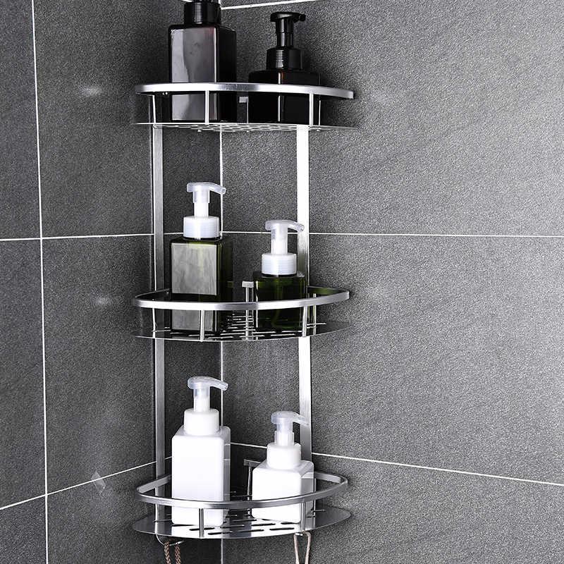 Przestrzeń aluminiowa półka łazienkowa bez dziurkowania koszyk prysznicowy Sheves kosz kuchenny do przechowywania samoprzylepne półki narożne prysznic