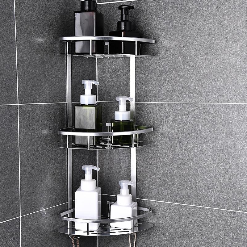 Space Aluminum Bathroom Shelf No Punching Shower Caddy Sheves Kitchen Storage Basket Adhesive Suction Corner Shelves Shower