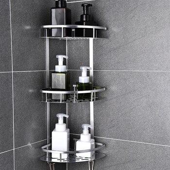 Space Aluminum Bathroom Shelf No Punching Shower Caddy Sheves Kitchen Storage Basket Adhesive Suction Corner Shelves - discount item  52% OFF Bathroom Fixture