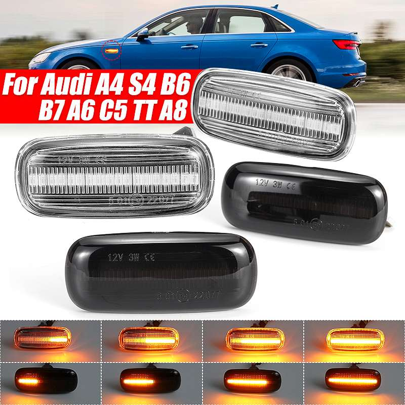 2pcs LED Dynamic Side Marker Turn Signal Light Indicator For Audi A3 S3 8L 2000-2003 A8 D2 1999-2002 TT 8N 2000-2006