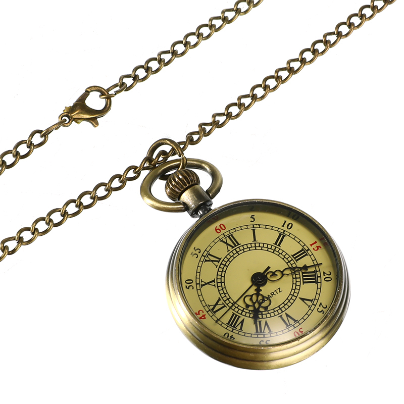 Antique Vintage Pocket Watch Bronze Glass Steampunk Chain Necklace Retro Watch Pendant Necklace Clock Gifts Jewelry Accessories
