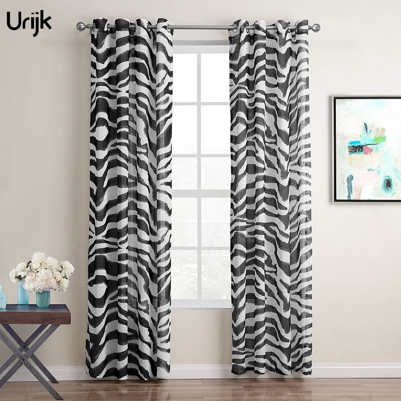 1PC Zebra Pattern Polyester Curtains For Living Room Fashion Print Tulle Curtain Sheer Voile Curtain Window Drapes Cortian