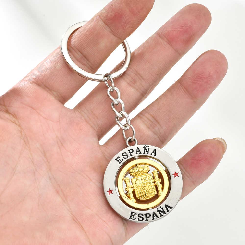 Vicney prata espana letetr chaveiro emblema nacional espanhol liga de zinco chaveiro espanha lembrança chaveiro para homem amigo