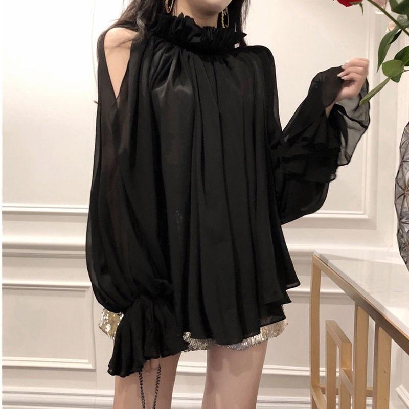 New Spring Autumn Women Black Shirt Long Sleeve Shirts Korean Ruffles Women Streetwear Slim Chiffon Blouse Elegant Ladies Tops