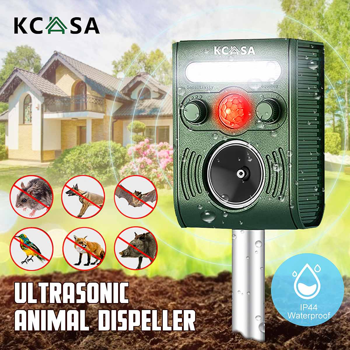 Outdoor Solar Ultrasonic Pest Repeller Animal Pest Mouse Repeller PIR Sensor Garden Bird Cat Dog Bat Repellent Keep Animals Away