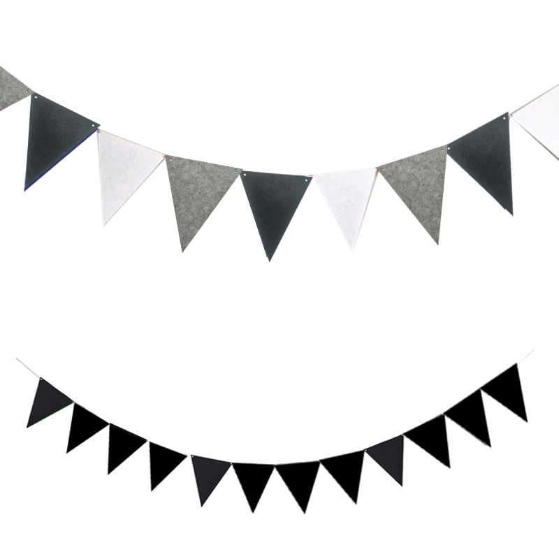 4M Non-woven Full Black And White Grey Pennants Bunting Banner Valentine's Day/party Flags Garland Decoration Supplies