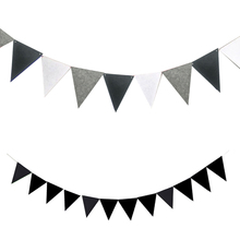 4M Non-woven Full Black and White Grey Pennants Bunting Banner Valentines day/party Flags Garland Decoration Supplies