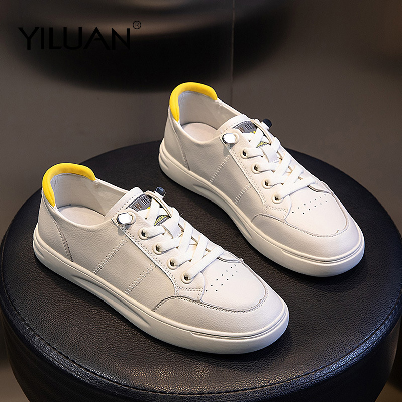 020 Spring New Women's Shoes Casual Wild Sports White Shoes Woman Leather Shallow Mouth Flat Casual Shoes Summer Loafers Student