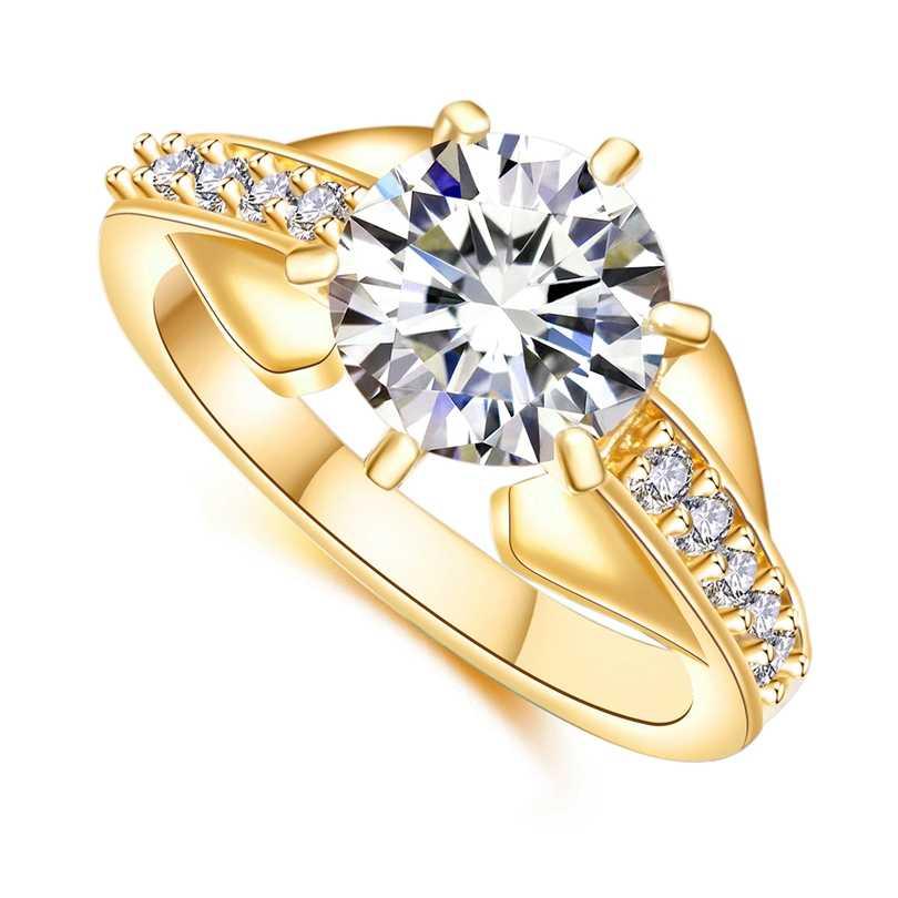 Элегантные модные свадебные кольца для женщин AAA белый кубический цирконий Кристалл Золотой Цвет Ювелирные украшения, обручальное кольцо Прямая поставка