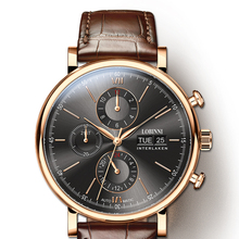 Switzerland LOBINNI Men Watches Fashion Top Brand Automatic Watch For Mechanical Clock Sapphire Rose gold relogio masculino