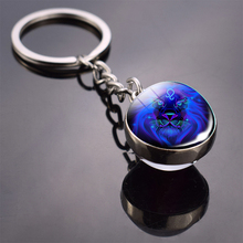 Fashion Men Women 12 Constellations Jewelry Zodiac Signs Double Side Glass Ball Cabochon Pendant Keychain For Gifts