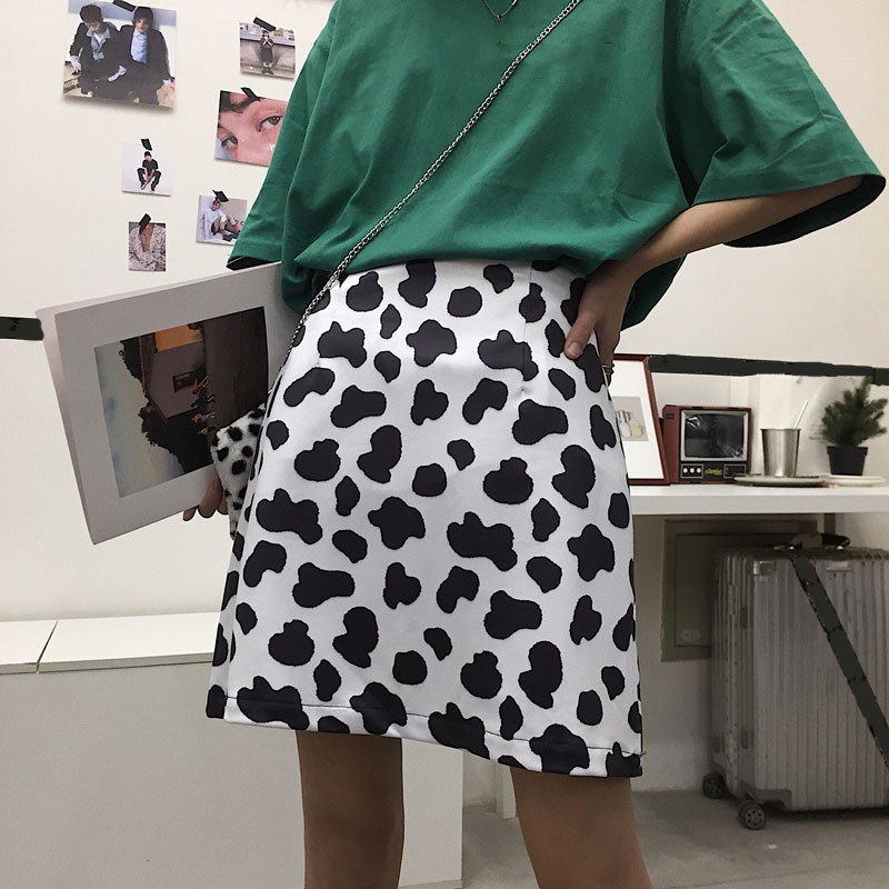 Nice Fashion Women Cute Cow Pattern Printing Casual Skirt High Waist A-Line Skirt Preppy Style Mini Skirt