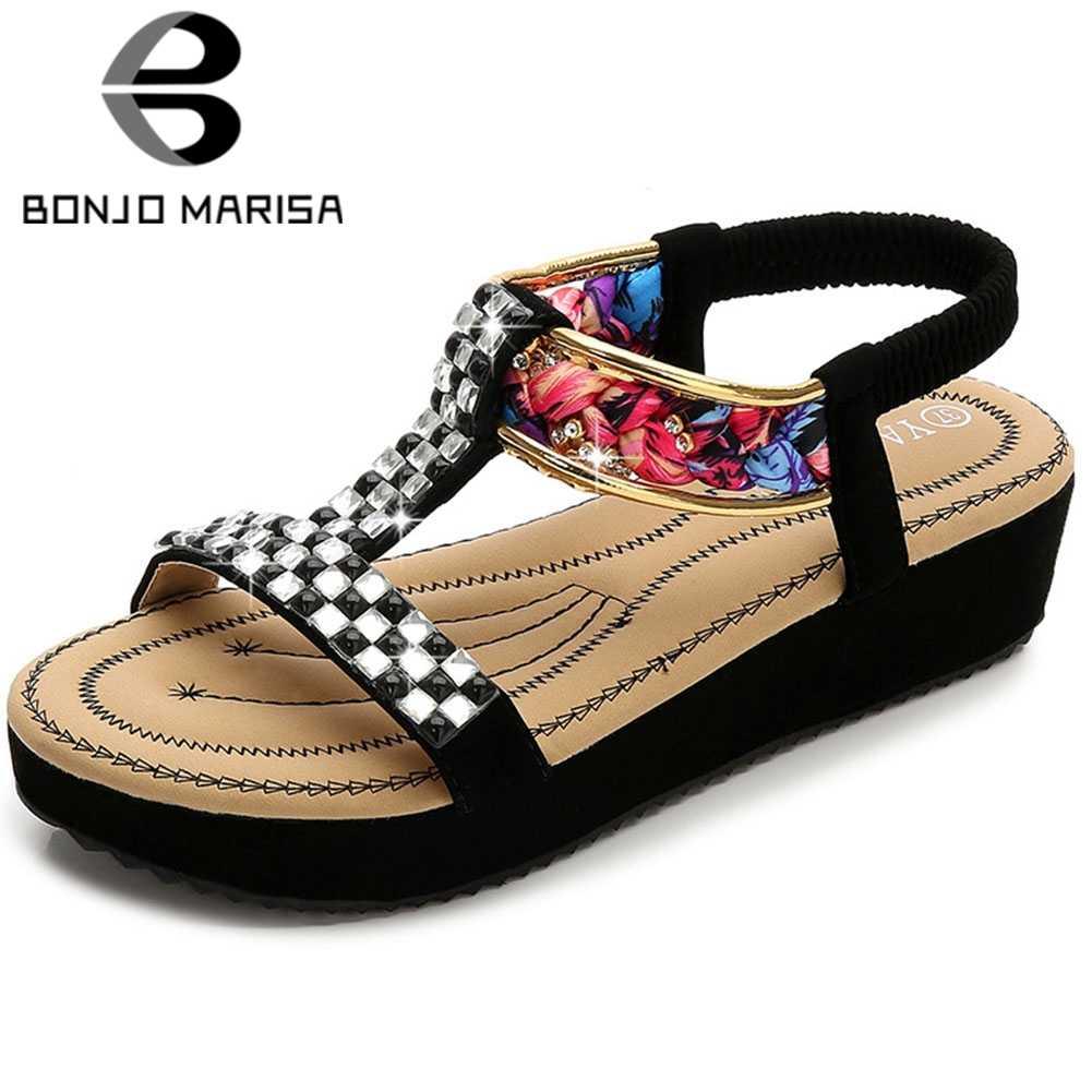 BONJOMARISA sıcak satış bayanlar yaz moda renkli baskı düz sandalet konfor Med takozlar sandalet kadın bölünmüş deri ayakkabı kadın