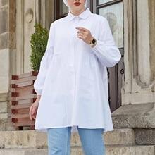 Baggy Chemise Tunic Blusas ZANZEA Women Full Sleeve Tops Fashion Solid Muslim Blouse Elegants Shirts Female Casual Summer Blouse