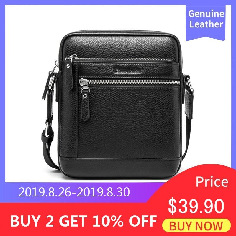 BISON DENIM Classic Black Male Bag Genuine Leather Business Crossbody Bag iPad Mens Messenger Bag Casual bolsas male N2845 leather