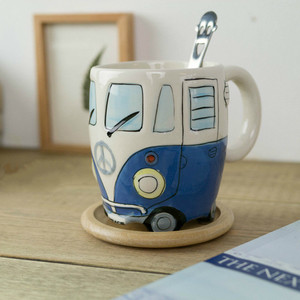 Image 3 - British Hand painted Ceramic Cup Creative Cartoon Bus Cup Personality Retro Car Mug Breakfast Milk Coffee Child Gift Cup