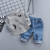 Spring Baby Boy Clothes sets Long Sleeve Shirt + Pants 2 Piece suit for Newborn Baby Boy Clothing 1 Year birthday Babies Sets
