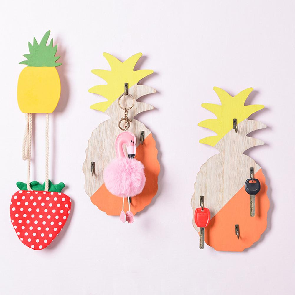 Cute Pineapple Wooden pneapple Convenient Key Hanger Wall Porch Door Storage Hanging Holder Home Ornament Easy to storage