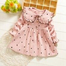 Baby Girls Dresses Autumn Casual Childrens Wear Girl Toddler Fashion Doll Collar Dot Printed Long Sleeve Sweet Princess Dress