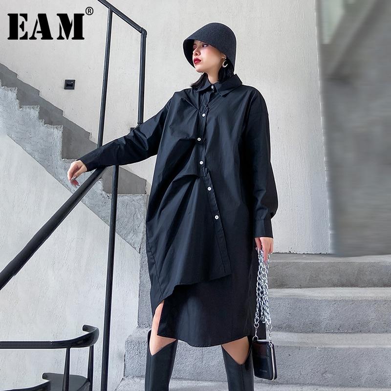 [EAM] Women Black Asymmetrical Pleated Big Size Shirt Dress New Lapel Long Sleeve Loose Fit Fashion Spring Autumn 2020 1N802