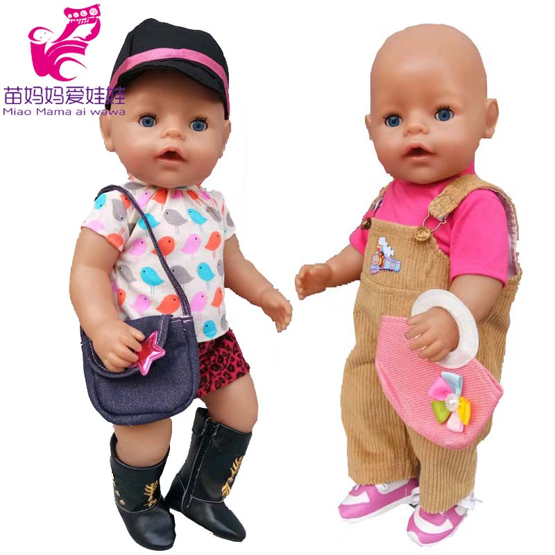 Doll dress for 43cm baby new born doll dress with hat suit for 18 inch girl doll dress accessory baby girl play toys