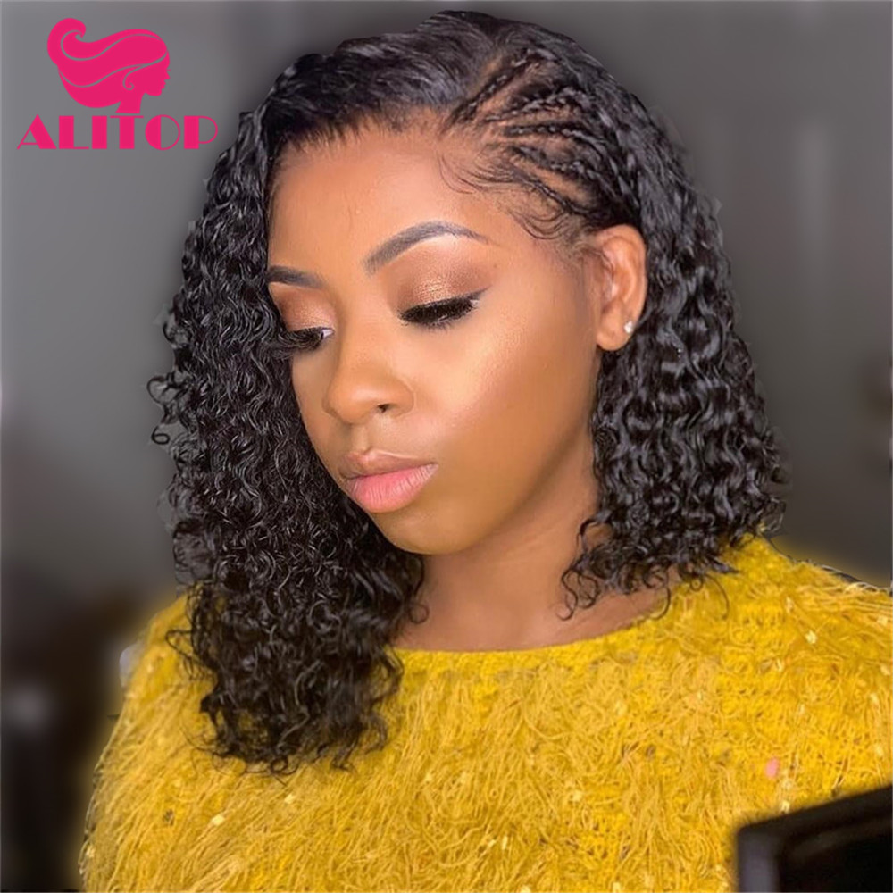 ALITOP 13x4 Jerry Curly Lace Front Human Hair Wigs With Baby Hair Indian Remy Hair Short Curly Bob Wigs Pre-Plucked Hairline Wig