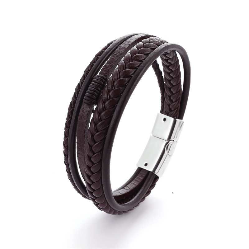 Мужской браслет, многослойный кожаный браслет с магнитной застежкой, Воловья кожа, плетеный многослойный браслет, модный браслет на руку, pulsera hombre - Окраска металла: Brown White