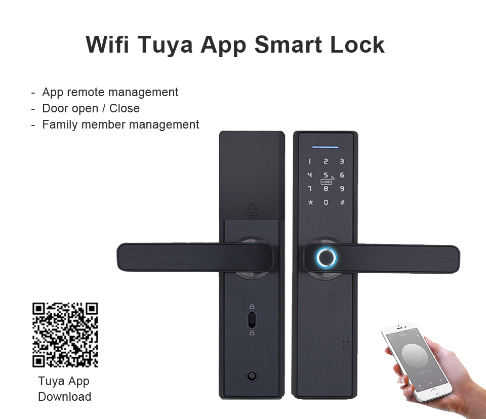 YOHEEN Electronic Smart Fingerprint Pad Lock with TUYA App Security for Intelligent Lock with Password and RFID card 10