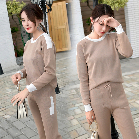 Women  2 piece set knit pants suit Sweater tracksuit Suits and Set Autumn Spring Casual  Pullover Winter sets Islamabad