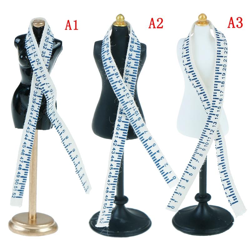 1/12 Dollhouse Miniature Accessories Mini Dress Clothes Mannequin Ruler Set Simulation Dress Form Model Toys For DollHouse Decor