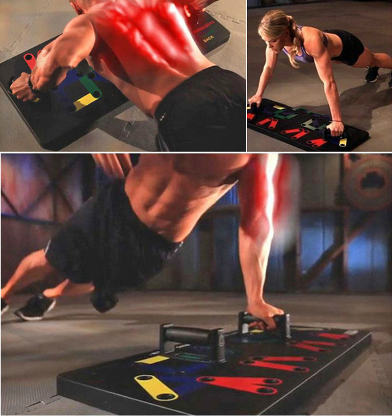 H461de20da12b47a0b52ceb0993e7de44V - 9 In 1 Push Up Rack Board Men Women Comprehensive Fitness Exercise Push-up Stands Body Building Training System Gym Equipment