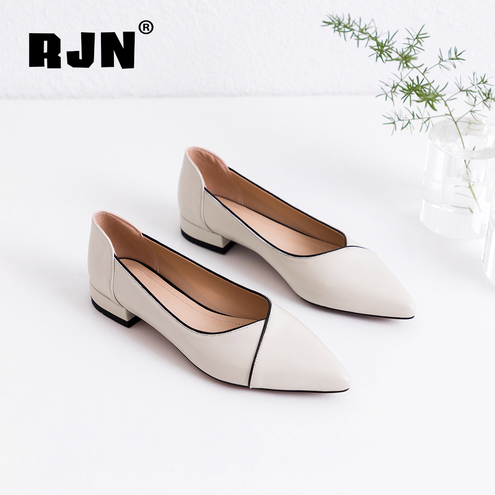 Hot Sale RJN Comfortable Genuine Leather Pumps Stylish Edge Mixed Color Sexy Pointed Toe Low Heel Shoes Shallow Slip-On Women Pumps RO49