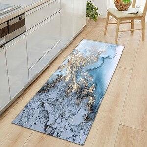 1 PC Anti-Slip Kitchen Carpet Floor Mats Carpets for Living Room Bathroom Mat Rugs Black White Marble Printed Entrance Doormat