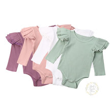 0-24M Newborn Infant Baby Girl Ruffles Rompers Spring Knitted Soft Long Sleeve Jumpsuit Solid Cute Toddler Baby Girl Costumes