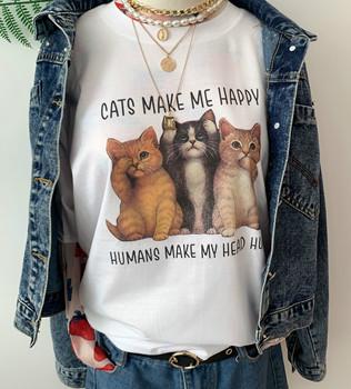 Sunfiz HJN koty sprawiają że jestem szczęśliwy człowiek sprawiają że moja głowa boli T-Shirt damska śliczna zabawna koszulka dla miłośnicy kotów kot kotek koszula tanie i dobre opinie COTTON SHORT REGULAR Sukno Drukuj NONE Na co dzień Z okrągłym kołnierzykiem