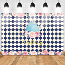 Mehofoto Tea Party Photo Background Friends Party Backdrops for Photography Flowers Backdrop Blue Teapot Checkered Road Studio(China)