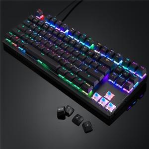 Image 3 - Motospeed CK82 Mechanical Keyboard Blue Red Switch gaming keyboard RGB LED Backlight USB Wired 87 Keys for Tablet Desktop Gamer