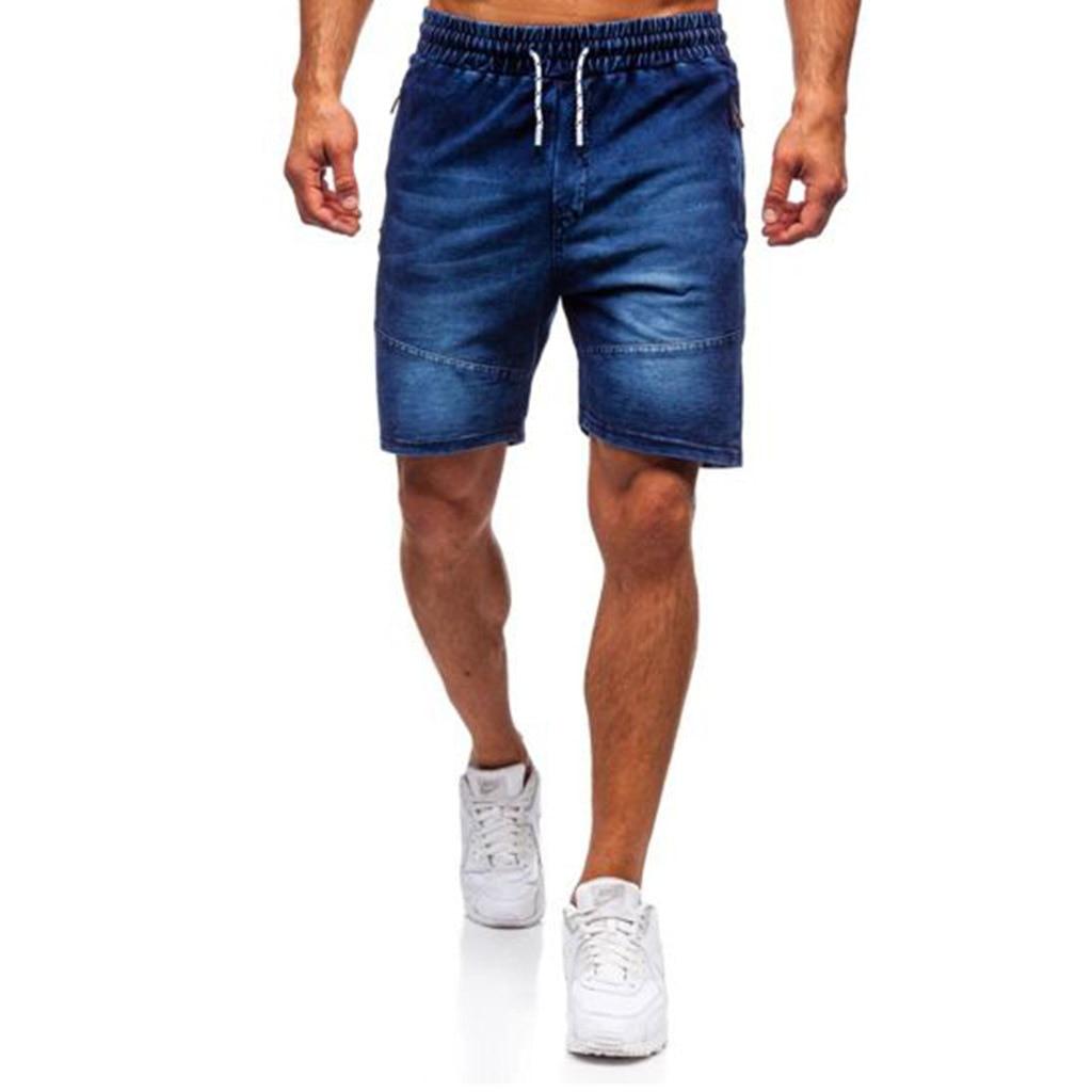 'Men's Casual Denim Shorts Elastic Tether Wash Knee Length Sports Denim Shorts