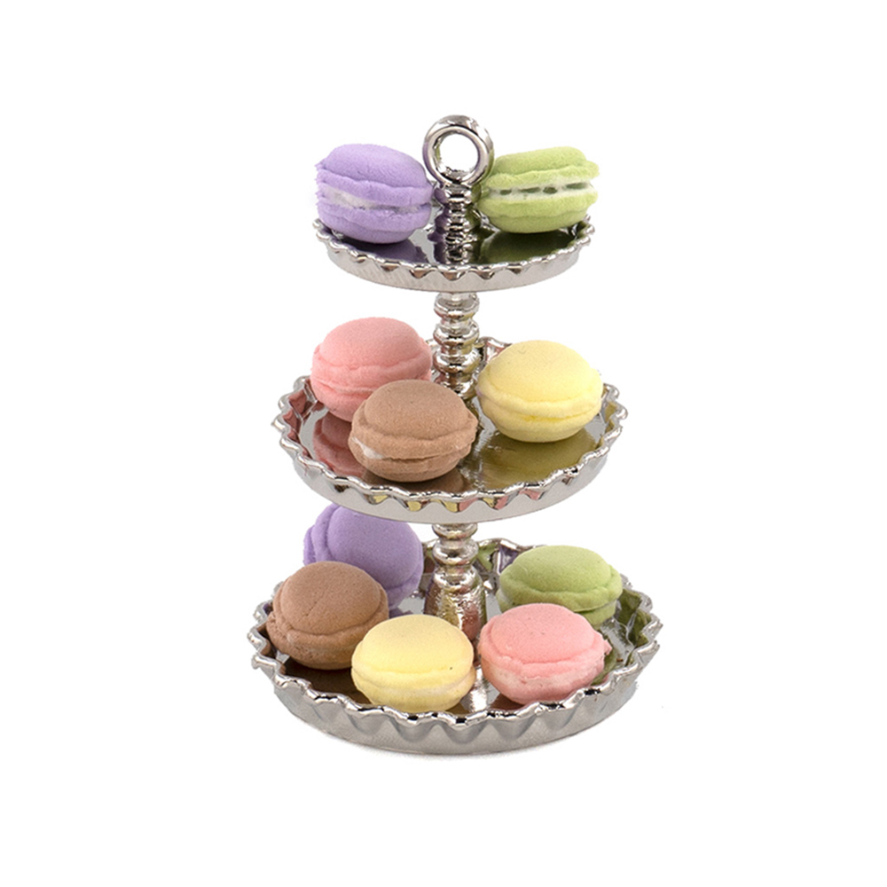 1Pcs 1/12 Dollhouse Miniature Accessories Mini Alloy Dessert Rack Simulation Food Cake Stand Toys For Doll House Decoration