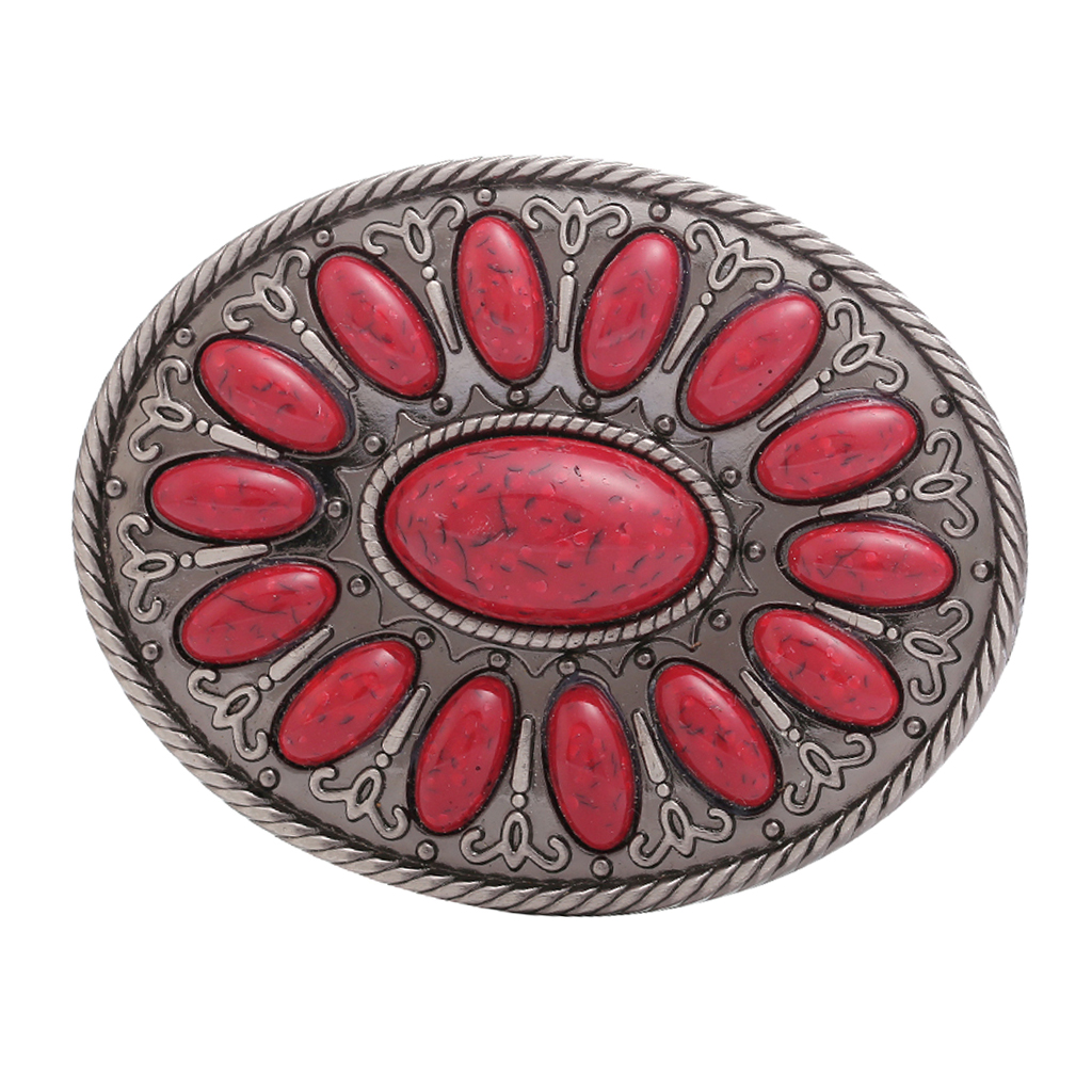 Classic Western Cowboy Belt Buckle Rodeo Indian Men's Motorcycles Mens Gift Women Red Bead Bohemia Belt Buckle