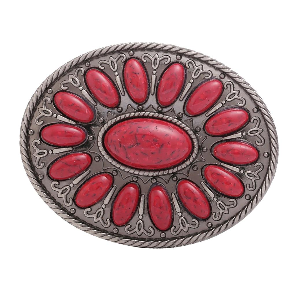 Classic Western Cowboy Belt Buckle Rodeo Indian Men's Motorcycles Mens Gift Women Red Bead Bohemia Belt Buckle