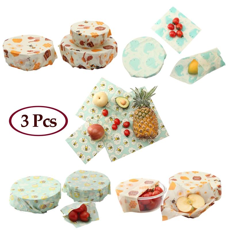 3 pièces Wraps De Cire D'abeille Pain Aux Fruits Bol multifonctionnel Emballage Huile Tissu Légume Animal Design Cuisine Sauvage Outils