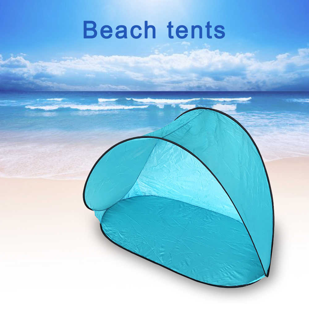 Tente portative automatique extérieure Protection UV plage Camping tente Pop-up tapis de plage pliant Protection UV parasol