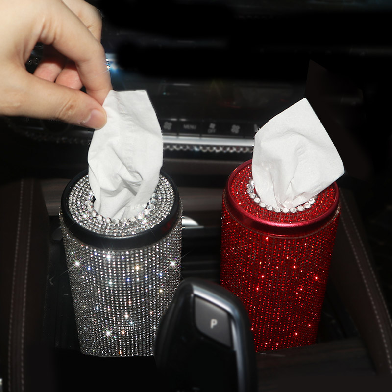 Bling Crystal Car Tissue Box Creative Diamond Paper Towel Tube Auto Tissue Paper Holder Case Home for Girls Car Accessories
