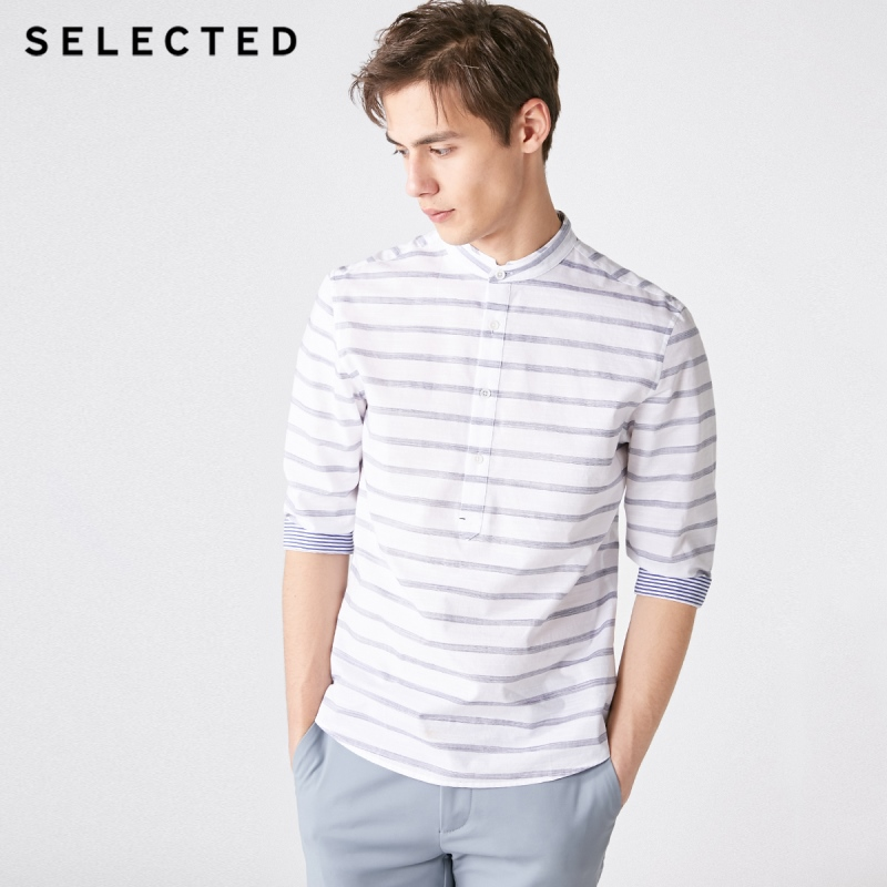 SELECTED Men's 100% Cotton Regular Fit Striped 3/4 Sleeves Shirt S|419131508