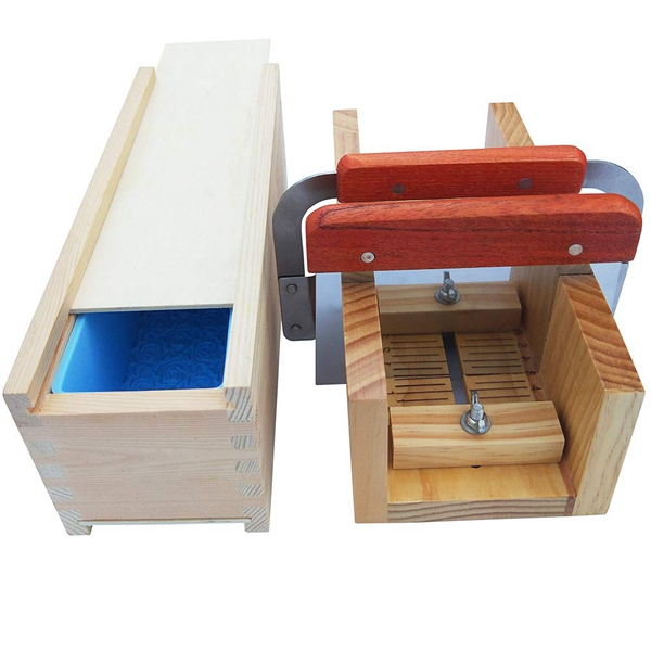 Hot Soap Loaf Cutting Making Molds Wooden Kit With Rose Silicone Mold Wood Box Adjustable Stainless Steel Cutter Mold