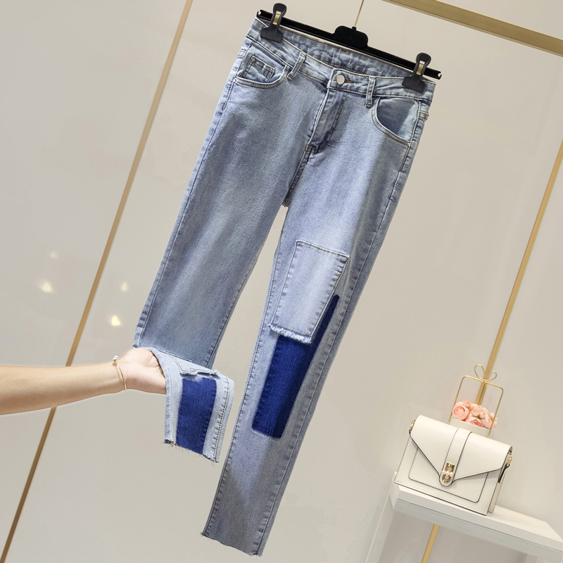 Manufacturers Direct Supply Large Size Dress Large GIRL'S Joint Supplement Elasticity Jeans Slim Fit Slimming Capri Skinny WOMEN